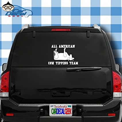 All american cow tipping team redneck vinyl decal sticker bumper cling for car truck window laptop