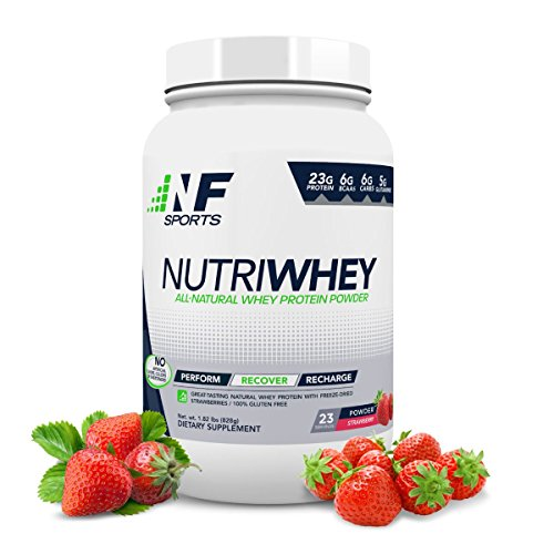NF Sports NutriWhey – All-Natural Whey Protein Powder That Improves Post-Workout Recovery and Muscle Repair – Strawberry Flavor – 100 Satisfaction Guaranteed – 23 Servings