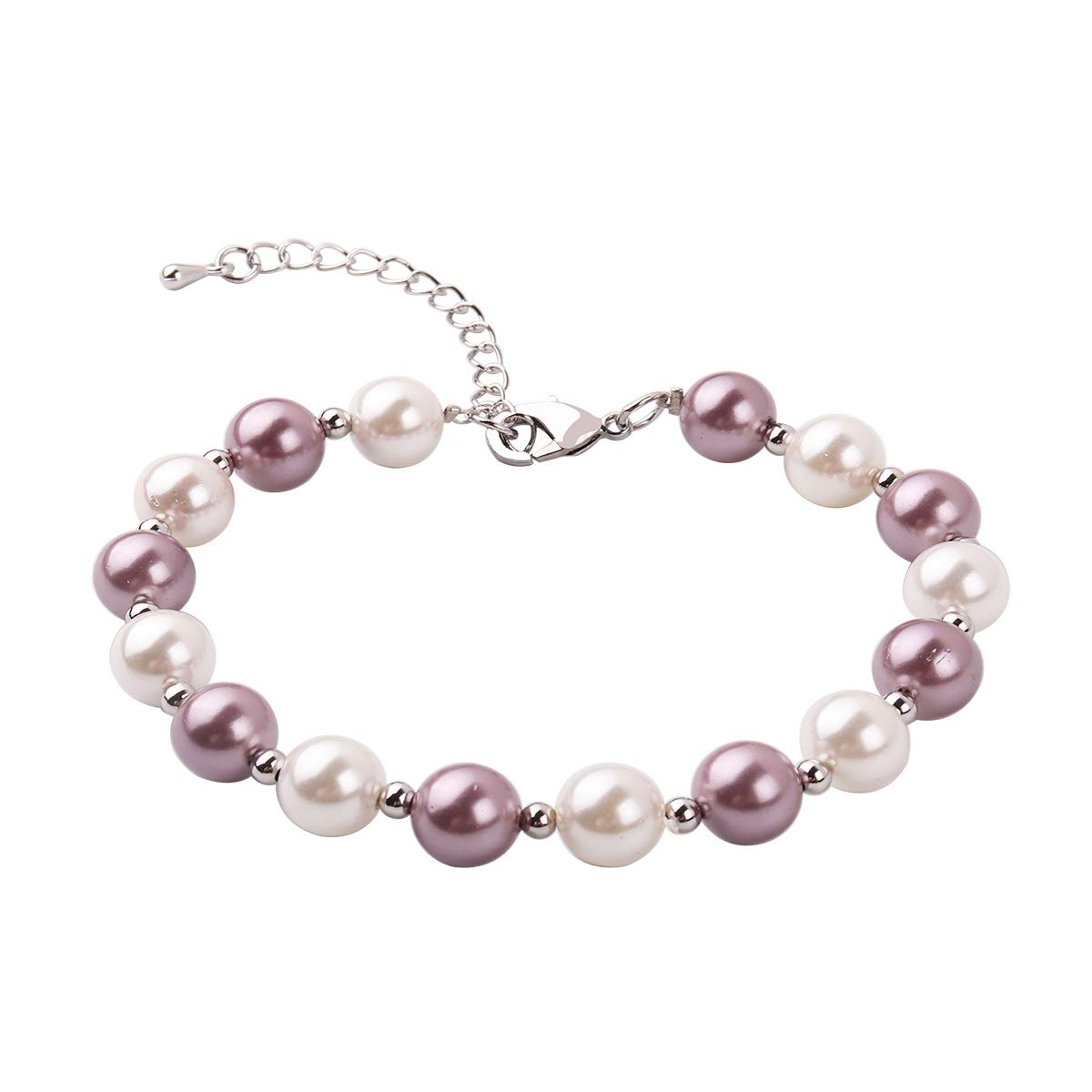 RUNXINTD Pearl Bracelet 8mm-9mm Round Pink White Pearl Bracelet in 3 Colors Wedding Jewelry (White+Purple Pearl)