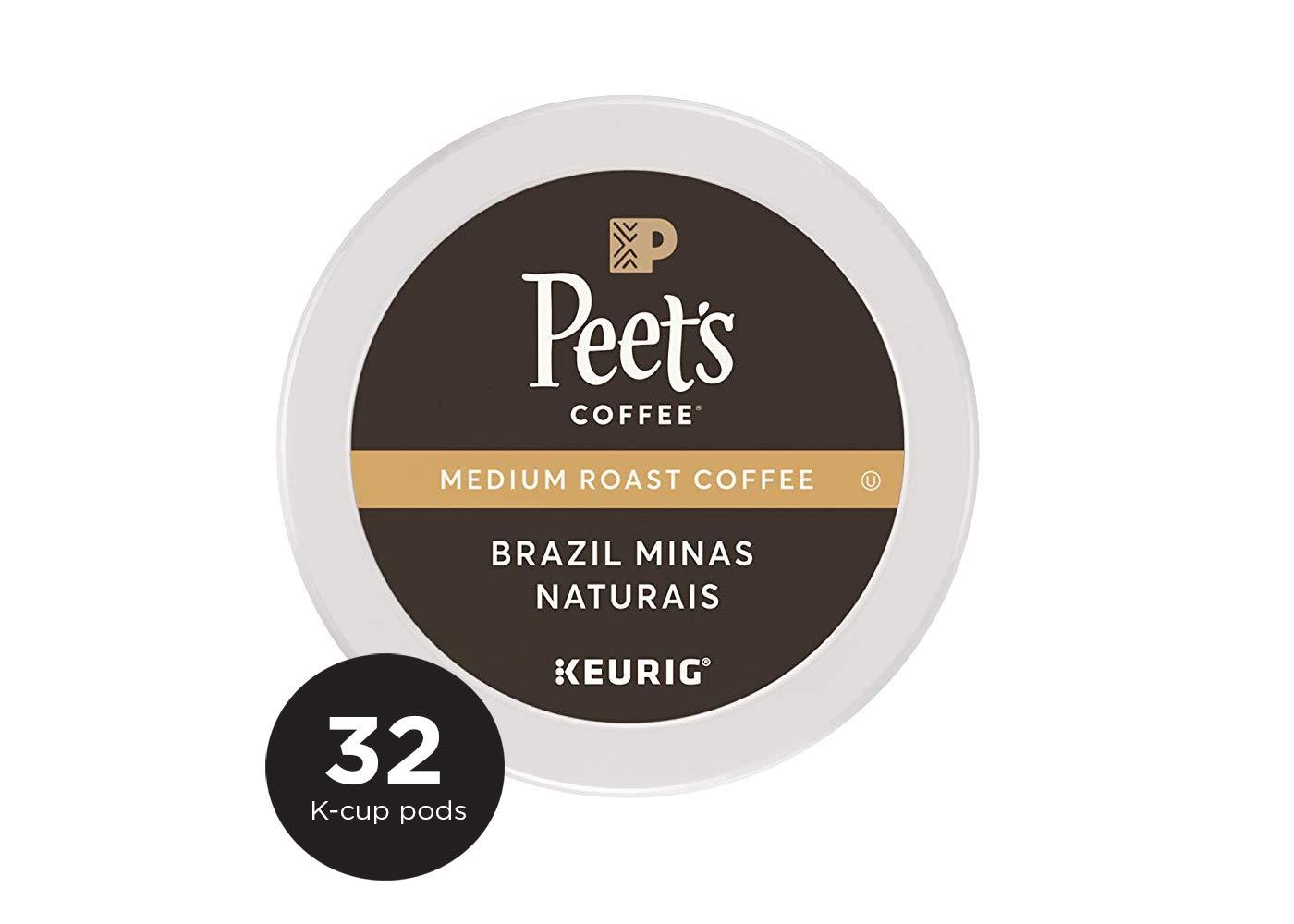Peet's Coffee Brazil Minas Naturais Medium Roast Coffee K-Cup Coffee Pods (32 Count)