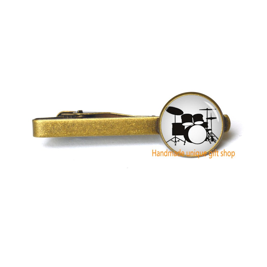 Handmade unique gift shop Fashion Tie Clip,Drum Glass Tie Pin,Instrument Jewelry,Music Tie Clip A Drum Charm-RC176 Drum Charm-RC176