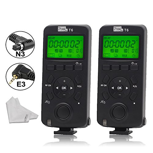 Pixel T6 FSK 2.4GHz Wireless Transceiver Timer Shutter Release Remote Control for Canon EOS 7D 5DS 1DS 6D 50D 40D PoweShot G16 700d EOS 1100D 600D 550D 500D (Straight 0.5' Thread)
