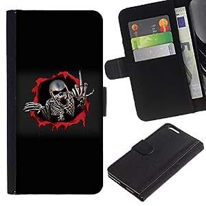 Billetera de Cuero Caso Titular de la tarjeta Carcasa Funda para Apple Iphone 6 PLUS 5.5 / Metal Skeleton Middle Finger / STRONG