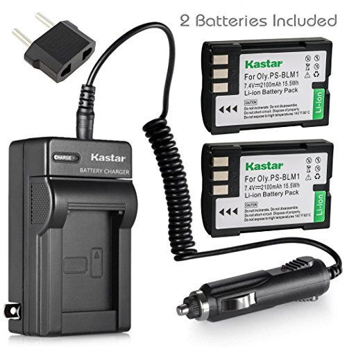 Kastar Battery (X2) & Travel Charger Kit for Olympus BLM-1, BLM-01, PS-BLM1 and Olympus C-5060, C-7070, C-8080, E-1, E-3, E-30, E-520, EVOLT E-300, E-330, E-500, E-510 Camera