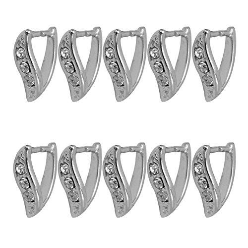 (10 Pcs Silver Rhinestone Triangle Open Jump Rings Bails For Necklace Pendant)