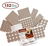 Chair Leg Pads for Hardwood Floors Seddox Premium Furniture Set with Bonus Rubber Bumper, Heavy Duty Extra Adhesive Hardwood Floor Protectors, Felt Chair Leg Pads for Wood and Laminate Floors, Large, Beige, 152 Piece