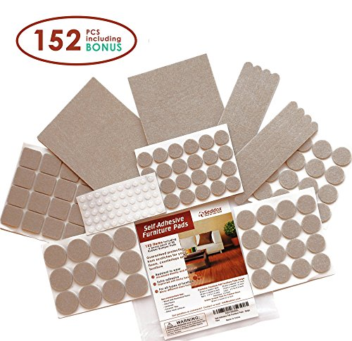 Seddox Premium Furniture Set with Bonus Rubber Bumper, Heavy Duty Extra Adhesive Hardwood Floor Protectors, Felt Chair Leg Pads for Wood and Laminate Floors, Large, Beige, 152 Piece