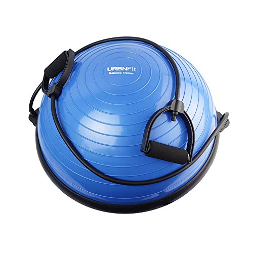 URBNFit Balance Trainer Half Ball - Includes Bands for Resistance Workouts, Yoga, Gym, Training, Rehab - Bonus Fitness Workout Guide