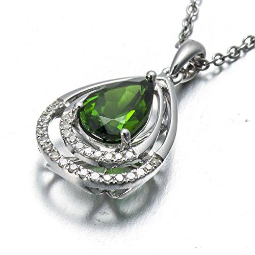 Hutang Pierre précieuse massif Or blanc 18ct Diamant naturel et 1.44CT Chrome Diopside Pendentifs et colliers pour femme Diamond-jewelry