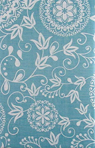 (Woven Embroidery Look Floral Design Vinyl Flannel Back Tablecloth (60