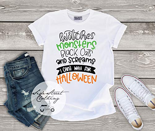 Witches Monsters Screams I can't wait for Halloween T shirt - baby, toddler, youth, women, men, funny, halloween, bats, ghosts, costume]()
