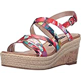 French Connection Womens Liya Printed Strappy Espadrilles Red 10 Medium (B,M)