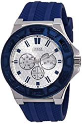 Guess Men's Force 45mm Blue Silicone Band Steel Case Quartz White Dial Analog Watch W0674G4