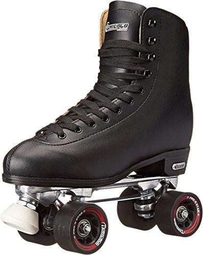 Chicago Men's Premium Leather Lined Rink Roller Skate - Classic Black Quad Skates - Size 10