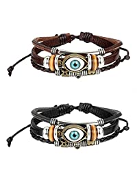 "2pcs Mes Womens ""Good Luck"" Blue Evil Eye Cuff Bangle Bracelet,Black,Brown,Size Adjustable 8.1 to 9Inch"
