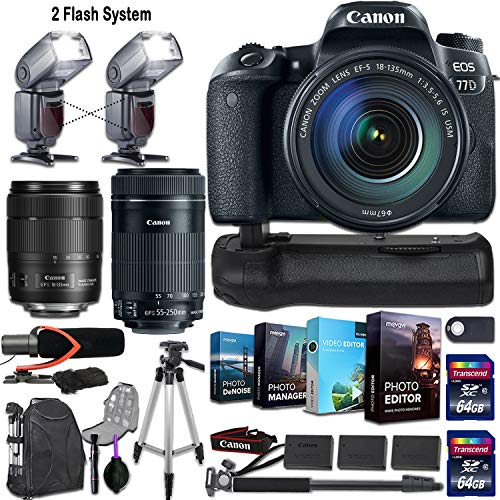 Canon EOS 77D DSLR Camera w/ 2 Lenses (Canon EF-S 18-135mm f/3.5-5.6 is USM & Canon EF-S 55-250mm f/4-5.6 is STM)+ 2 Flash System, Photo/Video Editing Software and Deluxe Accessory Kit