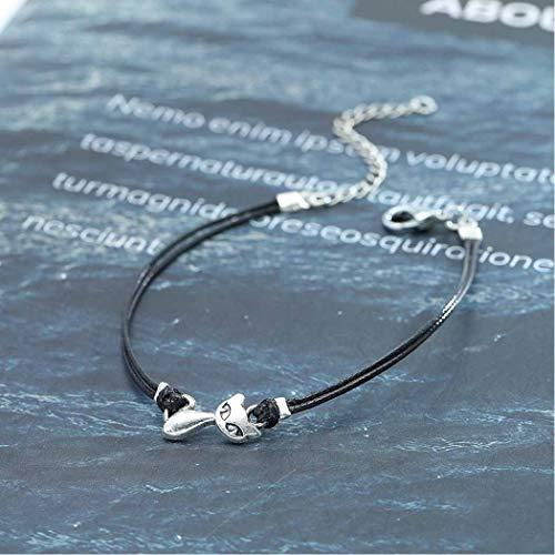 Olbye Cat Bracelet Black Hemp Bracelet Personalize Hand Chain Jewelry Cat Lover Gift for Women and Teen Girls