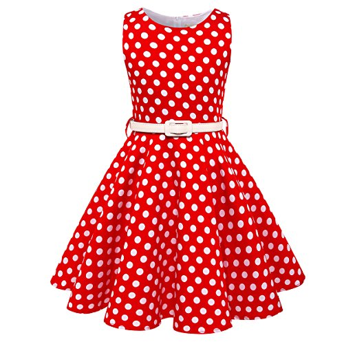 HB HBB MAGIC Girls Vintage Swing Dress With Belt Audrey Hepburn 1950s Style (Red Polka Dot,Size (Polka Dot Kids Clothes)