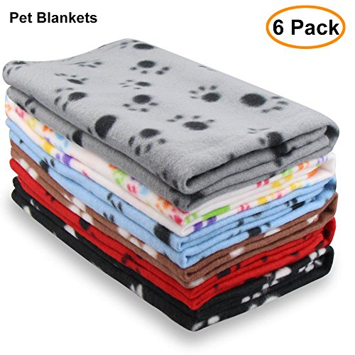 Eagmak Cute Dog Cat Fleece Blankets with Pet Paw Prints for Kitten Puppy and Small Animals Pack of 6 (black, brown, blue, grey, red and white) (Packs Pet Puppy)