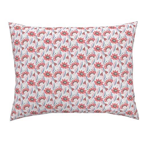 - Pink Floral Standard Knife Edge Pillow Sham Pink Flowers Blue Vintage Home Decor Cottage Pink Baby Girl Flower Floral Retro Vintage Leaves by Daria Rosen 100% Cotton Sateen