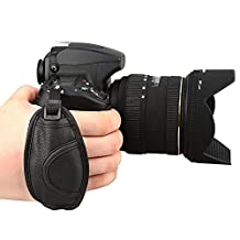 Ueasy PU Leather DSLR Camera Hand Grip Strap Stabilizing Ergonomic Hand Grip Wrist Strap Band for Nikon/ Canon SLR/ DSLR Cameras