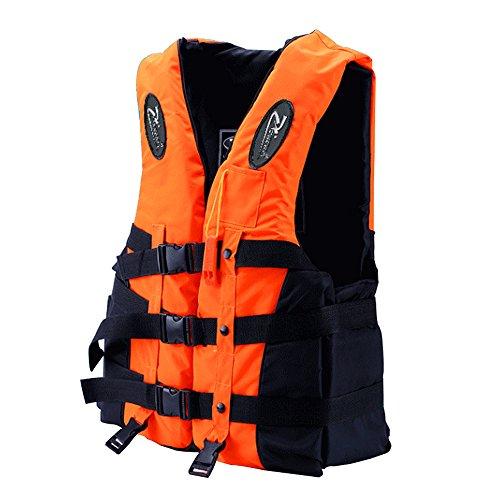 Universal Adult Life Jacket Vest with Whistle, Adjustable Belts, 3D Reflective Logo, 3XL - Watersport Buoyancy Aid Life Vest for Drifting Swimming Snorkeling Fishing Boating Kayaking (Orange)