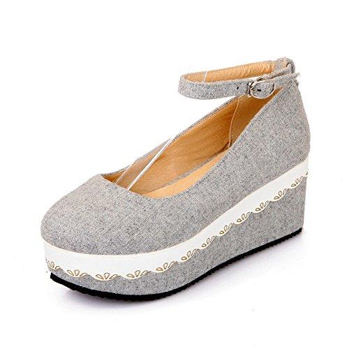 Allhqfashion Para Mujer Redondo Cerrado Puntada Kitten Heels Sólido Hebilla Bombas-zapatos Gris