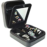 Laura - Black Lizard Style Travel Jewelry Case