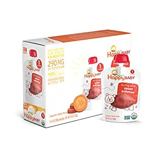 Happy Baby Organic Stage 1 Baby Food, Starting Solids, Sweet Potatoes, 3.5 Ounce (Pack of 16)