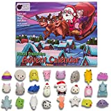 Mochi Squishy Kids Advent Calendar with 24 different cute mochi squishies including Santa! Super gift for girls, boys, and toddlers! 24 kawaii squish toys! SANTA'S SLEIGH Toy Advent Calendars 2018
