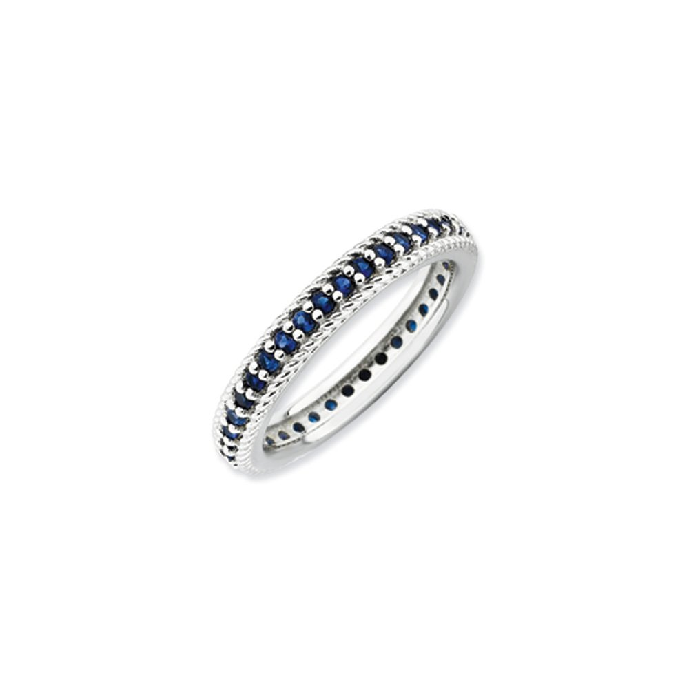 3.25mm Sterling Silver Stackable Created Sapphire Eternity Ring Size 10