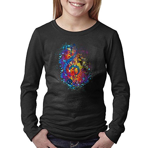 Price comparison product image Galaxy Music Note Watercolor Unisex Youth Long Sleeve Cotton Crew Neck T-Shirt Tee