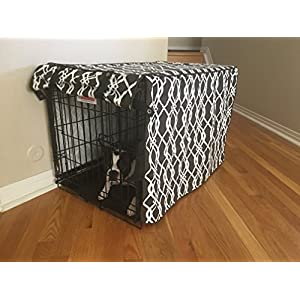 """Modern Brown & White Designer Dog Pet Wire Kennel Crate Cage House Cover (Small, Medium, Large, XL, XXL) (MEDIUM 30x21x24"""")"""