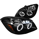 Spec-D Tuning 2LHP-COB05JM-TM Pontiac G5 Chevy Cobalt 2x Halo Led Black Projector Head Lights