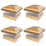 iGlow 4 Pack Copper Outdoor Garden 5 x 5 Solar LED Post Deck Cap Square Fence Light Landscape Lamp PVC Vinyl Wood Bronze