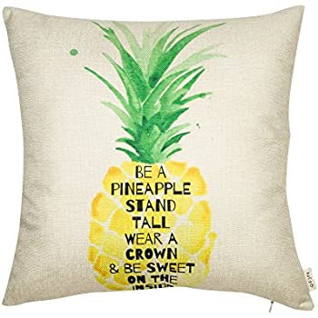 "Fjfz Be a Pineapple Stand Tall Wear a Crown and Be Sweet on the Inside Inspirational Quote Cotton Linen Decorative Throw Pillow Case Cushion Cover for Sofa Couch, Gold Yellow, 18"" x 18"""