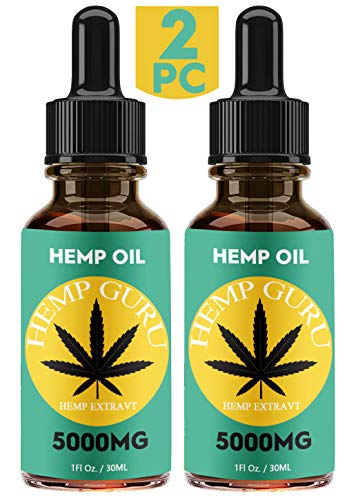 Hemp Oil for Pain Relief - 2 Pack - 5000 MG - Omega 3, 6, 9 - All Natural Pain, Anxiety & Stress Relief - Made in USA - Anti-Inflammatory, Hip & Joint Support,Provides Natural Calm Sleep
