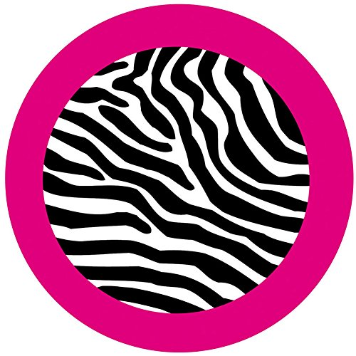 """Custom & Cool {2.6"""" Inches} Set Pack of 2 Round """"Grip Texture"""" Small Drink Cup Coaster Made of Absorbent Material w/ African Safari Zebra Stripes Design [Colorful Pink, Black & White]"""