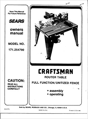 craftsman router owners manual