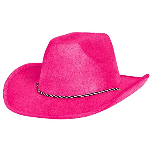 Amscan Cowboy Hat in Black Light Reactive Neon Pink Color Night Costume Party Headwear, Fabric, 5