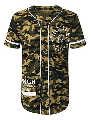 American Flag Baseball Jersey (URBANCREWS Mens Hipster Hip Hop Camo Baseball Jersey T-Shirt OLIVECAMO, M)