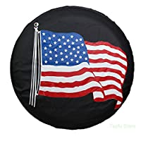 "Spare Tire Cover PVC Leather WaterProof Dust-proof Universal Spare Wheel Tire Cover Black Flag Fit for Jeep,Trailer, RV, SUV and Many Vehicle 14"" 15"" 16"" 17"""