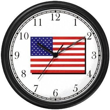 WatchBuddy US Flag Americana Wall Clock Timepieces Black Frame