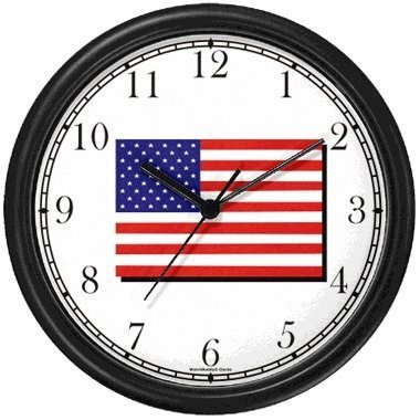 - US Flag Americana Wall Clock by WatchBuddy Timepieces (Black Frame)