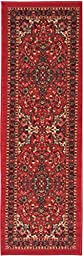 Ottomanson New Ottohome Persian Heriz Oriental Design Runner Rug with Non-Skid Rubber Backing,  Red,  22\