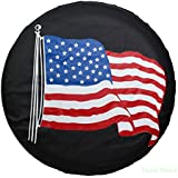 """Spare Tire Cover PVC Leather WaterProof Dust-proof Universal Spare Wheel Tire Cover Fit for Jeep,Trailer, RV, SUV and Many Vehicle 14"""" 15"""" 16"""" 17"""" DIY (17"""") (14"""" for diameter 23""""-27"""")"""