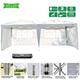 VINGLI 10' x 20' Ez Pop Up Canopy Tent with 4 Removable Sidewalls Panels,Folding Instant Wedding Party Outdoor Commercial Event Gazebo Pavilion W/Carrying Bag White