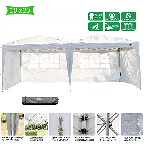 VINGLI 10' x 20' Ez Pop Up Canopy Tent with 4 Removable Sidewalls Panels,Folding Instant Wedding Party Outdoor Commercial Event Gazebo Pavilion W/Carrying Bag White -