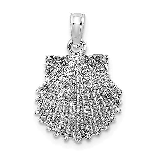 - 14k White Gold 2 D Beaded Scallop Sea Shell Mermaid Nautical Jewelry Pendant Charm Necklace Shore Fine Jewelry Gifts For Women For Her
