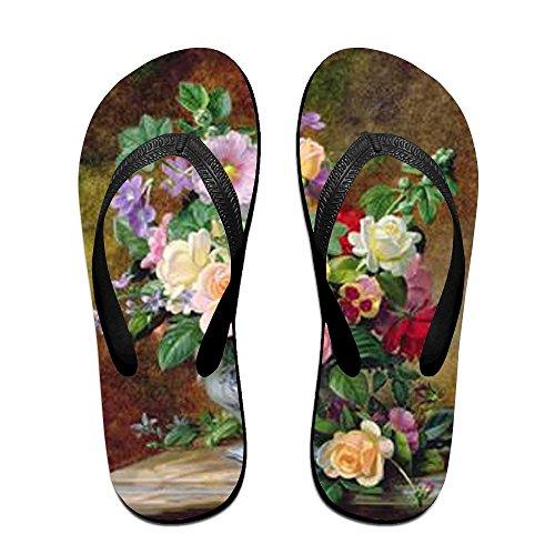 Painting Oil Women for Slippers Kids Flowers PTJHKET Flops Flip Men tqwEvRv